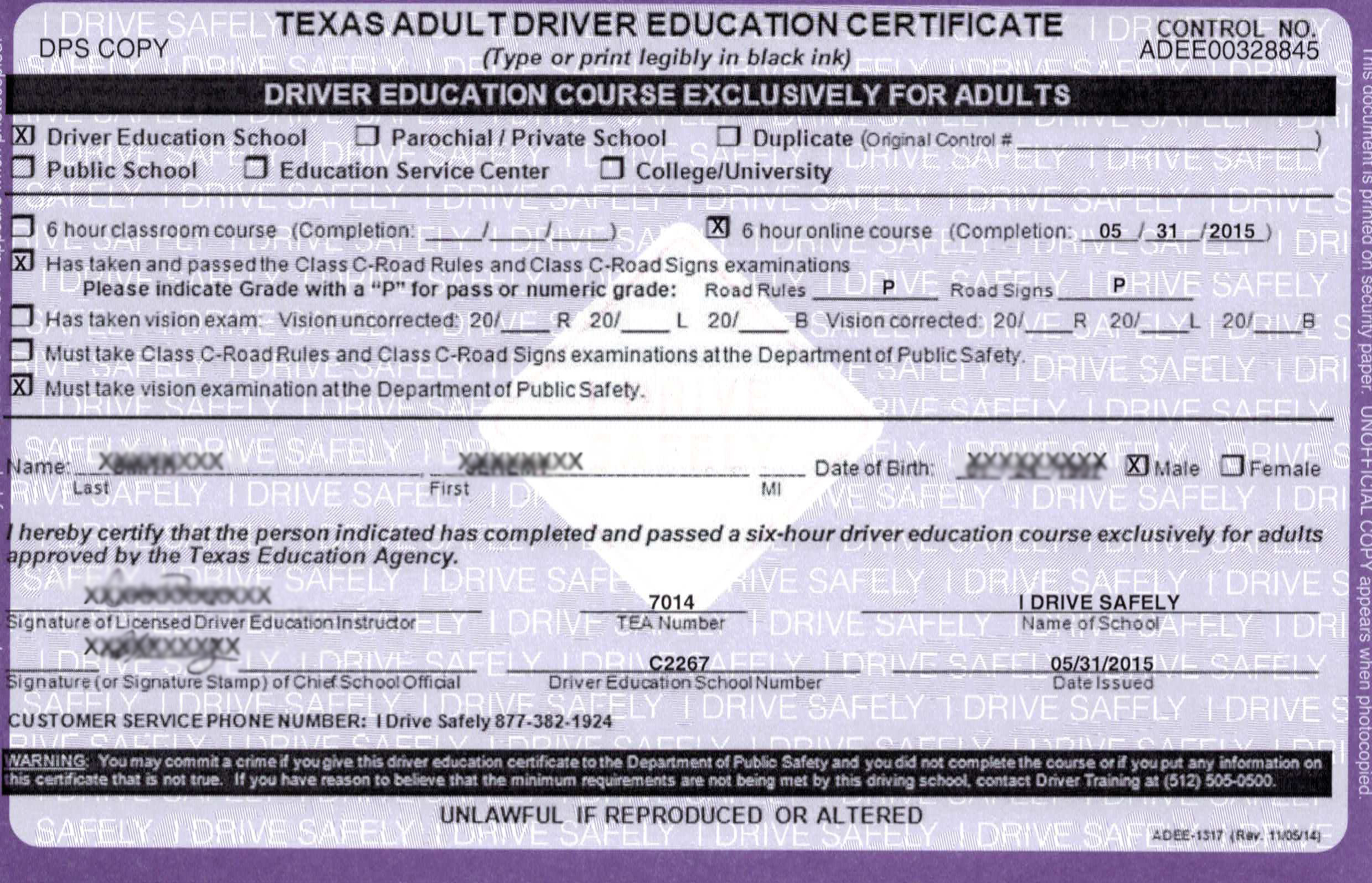graphic about Defensive Driving Course Online Texas Printable Certificate identify Texas Powering College [Corpus Christi]